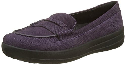 FitFlop Damen F-Sporty Penny Loafer Snake Slipper, Schwarz, Violett (Deep Plum Snake-embossed), 40 EU