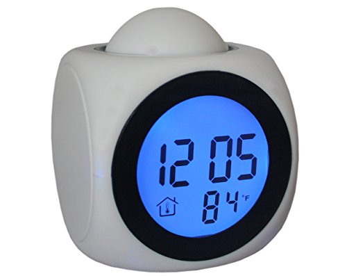Talking Laser Projector Projection Alarm Table Wall Clock Thermometer White -01  available at amazon for Rs.899