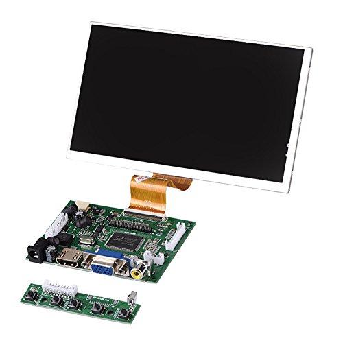 Garsent 7 Zoll HD LCD Bildschirm für Raspberry Pi,1024X600 hoher Auflösung AV + VGA + HDMI Monitor Display für Raspberry Pi 2/3 Modell (Hd-lcd-bildschirm)