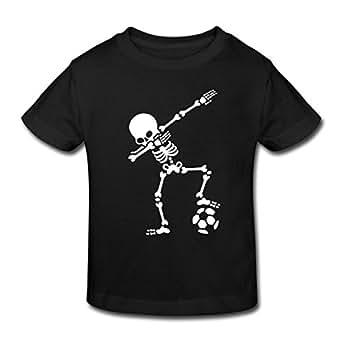 Spreadshirt Dabbing Skelett Mit Fussball Dab Gerippe Halloween Kinder Bio-T-Shirt, 98/104 (3-4 Jahre), Schwarz