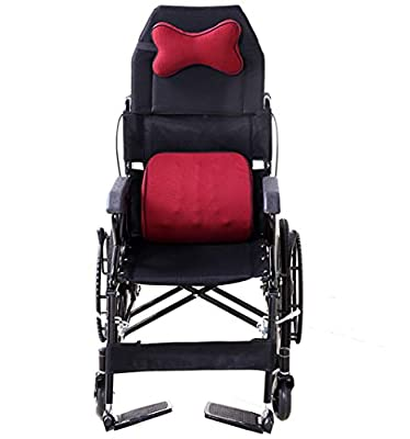 ACEDA Transport Wheelchair With Lightweight Thick Steel Frame,Folding Chair Is Portable,Front And Rear Brake,With Detachable Backrest And Headrest,Seat Width 46Cm