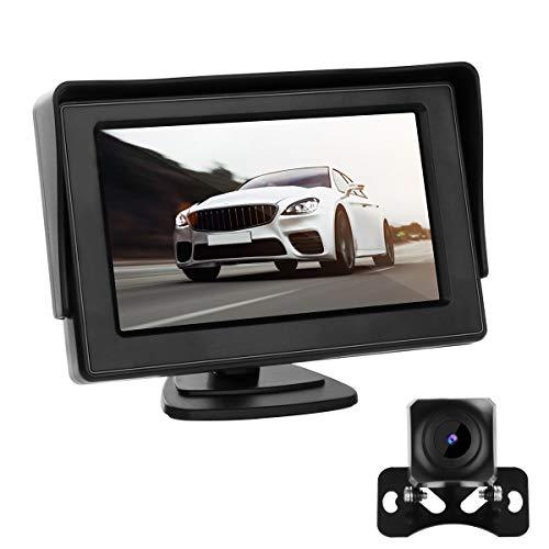 Rückfahrkamera mit Monitor, 170° Winkel Superstark Nachtsicht IP68 wasserdichte Backup-AutoKamera, 4,3-Zoll-LCD-Monitor für Einparkhilfe Rückfahrhilfe