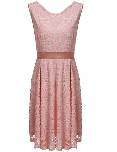 ZEARO Damen Spitzenkleid Ballkleid Abendkleider Partykleid Knielanges ärmellos Vintage 50er Jahr hochzeit Party Rosa