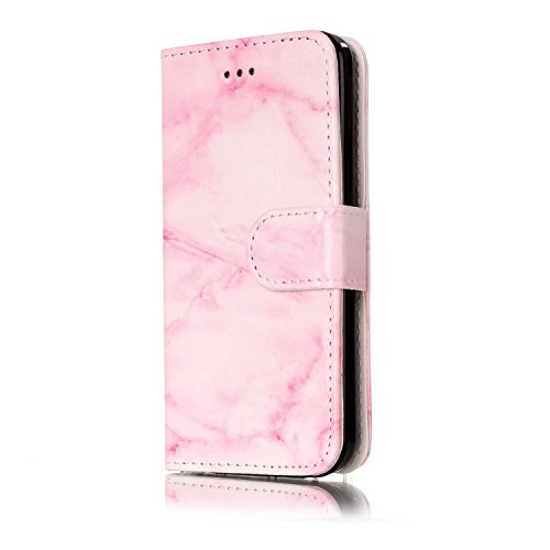 Custodia iphone 5C Antiurto,Cover iphone 5C in Pelle,Ekakashop Moda Colorato Marmo Pattern Vintage Cellulare Cover Shockproof Completa Protettivo Caso Cover Custodia Per iphone 5C con Ekakashop Kickst Marmo Rosa