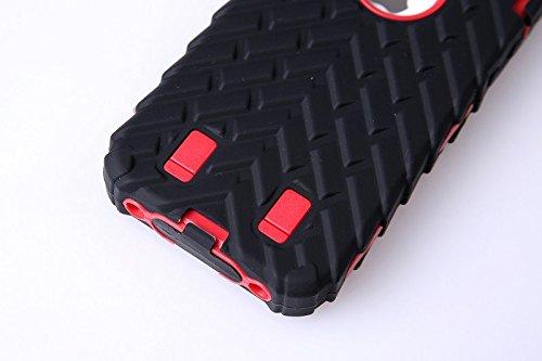 4S Iphone Coque,Lantier Tire Conception fraîche de la série 3 en 1 Heavy-Duty Dual Layer Soft Touch Housse de protection avec boîtier intérieur dur PC pour Apple Iphone 4S orange Tire Red