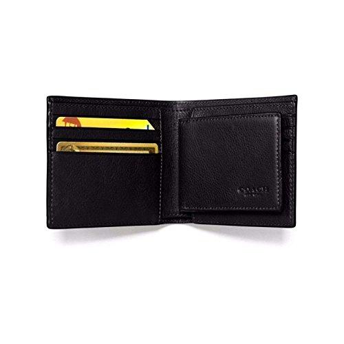 COACH Compact ID Sport Calf Bifold Wallet (Black)