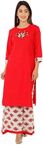 Honeymeloom Long Kurti with Plazzo for Women Cotton Flex Relaxed Solid Colors