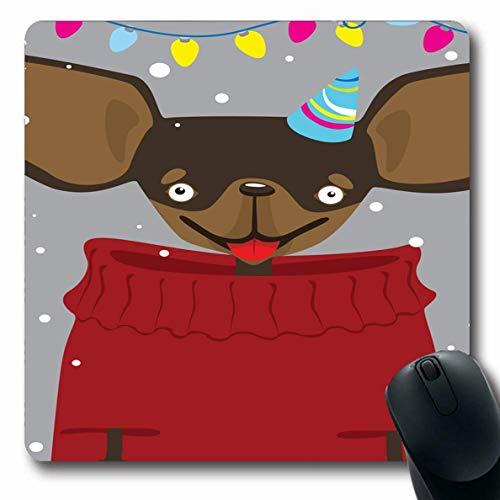Luancrop Mousepad Oblong Breed Boston Weihnachten Toy Terrier Sweater Kleid Schnee Chihuahua Cute Dog Design Büro Computer Laptop Notebook Mauspad, rutschfeste Gummi -