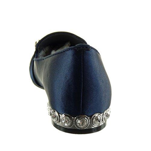 Angkorly - Zapatos De Moda Mocasín Slip-on Mujer Hebilla Tachonada Joyas Block Heel 1.5 Cm Azul