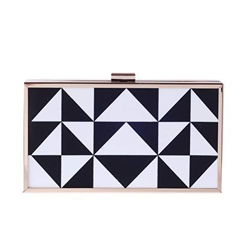 Weiß Abend-handtasche (HKDUC Marke Frauen Designer Schwarz Weiß Gestreiften Acryl Box Clutch Abend Hochzeit Prom Schulter Handtasche Kupplungen)