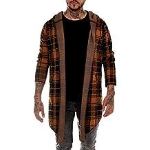 efaedab20a35 BAXMEN CULTWEAR Herren Cardigan Hoodie Destroyed Jacke Lang Strickjacke  Hooded Long Sweatjacke Lang Vintage Slim Fit