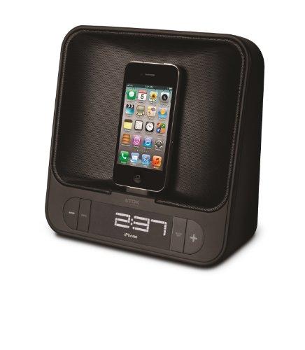 TDK T78841 Dual Charging Alarm Clock Radiowecker mit iPod/iPhone-Dock, UKW-Radio und USB-Ladeausgang schwarz