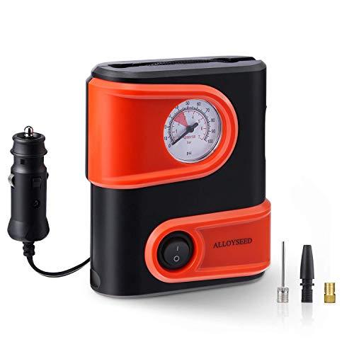 Alloyseed Compressore Portatile per Auto, Compressore Pneumatici 12V, Mini Pompa Elettrica per Pneumatici, Dispositivo di Rilevamento Incorporato, 6.9BAR / 100PSI, Cavo da 3M