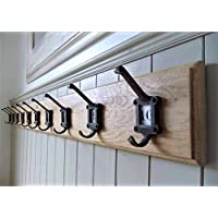 Wooden Coat Rack Vintage Style Cast Iron School Hooks Oak Wood Handmade
