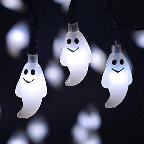 PL Geister-Lichterkette mit 10 Lichtern für Terrasse, Rasen, Garten, Hochzeit, Halloween, Party-Dekoration 3.7ft weiß