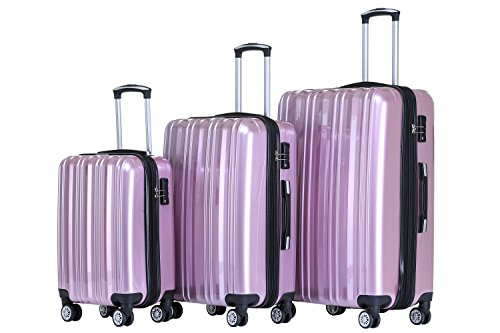 Münicase Münicase- Hartschalen Koffer Reisekoffer Trolley Rollkoffer Polycarbonat TSA-Schloß Kofferset Gepäckset (Rosa, 3tlg. Kofferset)
