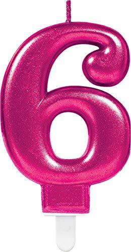 Party Kuchenkerze Kerze schimmernd Zahl 6 ()