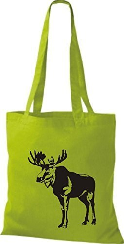 shirtstown Borsa di stoffa animale alce, elk, Karibus Lime