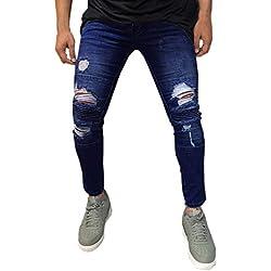 ♚ Pantalones Vaqueros Hombre Slim fit,Hombre Skinny Jeans Pants Casual Pantalón Biker Ripped Deshilachado Slim Fit Denim Pantalones Hombre Chandal Jeans elásticos triturados Absolute