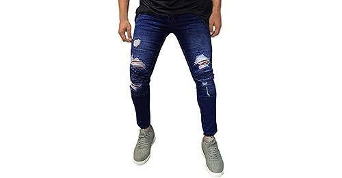 Pantalones Hombres Vaqueros Originales Rotos Casuales Motocicleta  Pantalones Slim Agujero Elasticos Streetwear Moda Pantalón STRIR STRIR 354177062922