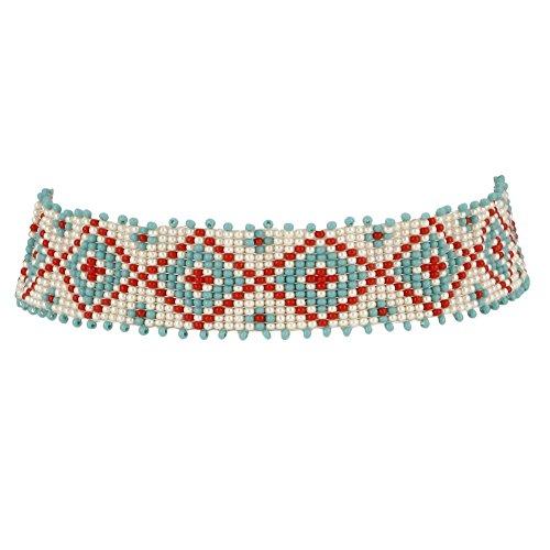 El Allure American Navajo Samen Perlen Choker Farbe Rot, Off Weiß & Türkis -