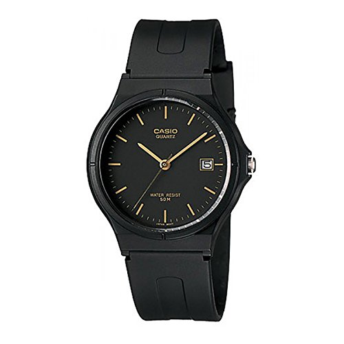 Casio Unisex MW59-1EV Black Resin Quartz Watch with Black Dial