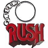 """RUSH PRECIPITACIÓN Logo Metal KEYCHAIN, LLAVERO Officially Oficialmente Licensed Autorizado Products Classic Rock Artwork,ilustraciones 2"""" x 1"""" High Quality Ruber KEYCHAIN LLAVERO"""