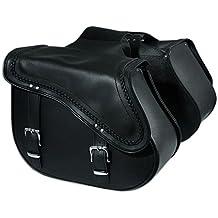 Un par de alforjas Piel Custom Chopper Moto Bolsas Vintage Negro Saddie bag