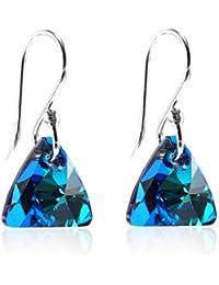 81d01cd631bb Pendientes de plata de ley con cristales de Swarovski – plata de ley 925  brillante triangular chapado en rodio para…