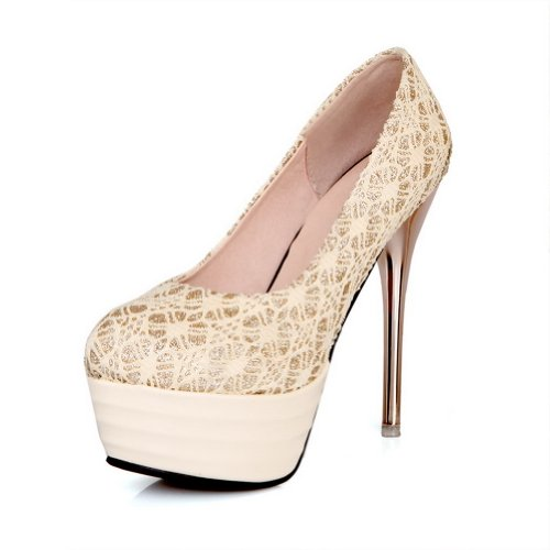 Adee Mesdames Western givré Glitter Pompes Chaussures Beige - beige