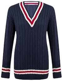 Damen Strickpullover, V-Ausschnitt, Zopfmuster, Cricket-Pullover für Damen,  elastisch ed36cf95b4