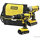 STANLEY FATMAX 18V CORDLESS TWINPACK COMPLETE KIT X1 IMPACT DRIVER X1COMBI HAMMER DRILL X2 LITHIUM BATTERYS.FAST CHARGER STANLEY TOOL BAG