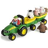TOMY John Deere Heuwagen mit tierischen Geräuschen / Spielzeuganhänger mit Bauer und 4 Tieren zum Spielen für drinnen und draußen / Für Kinder ab 18 Monate