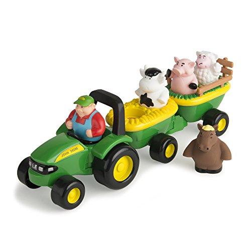 TOMY John Deere Heuwagen mit tierischen Geräuschen / Spielzeuganhänger mit Bauer und 4 Tieren zum Spielen für drinnen und draußen / Für Kinder ab 18 Monate (Pferd Anhänger Spielzeug)