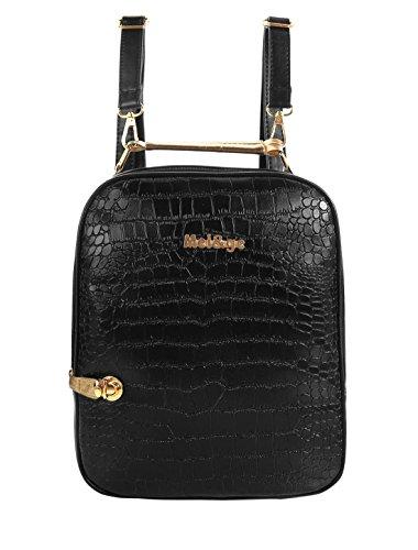 Schlange-haut-design (Damen Schlange Haut Leder Design abnehmbare Schulter Steifen Rucksack schwarz)