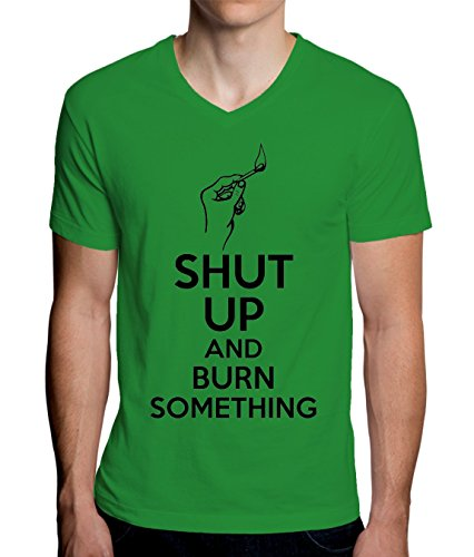 Shut Up And Burn Something Men's V-Neck T-Shirt XX-Large (Blast-match-fire Starter)