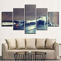 RMRM Toile Photos Maison Mur Art Décor Salon 5 Pièces Phonographe Peintures HD Prints Rétro Musique Platines Affiche 30x40cm 30x60cm 30x80cm