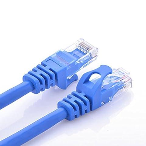 CAT.6 Câble réseau Gigabit LAN Ethernet (RJ45), Câble de raccordement, UTP, compatible CAT.5 / CAT.5e / CAT.7, Switch / Routeur / Modem / Patch panel, Point d'accès, 10/100 / 1000Mbit / s (20m, bleu)