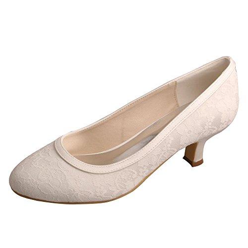 Wedopus MW858A Frauen Runde Toe Prom Pumps Low Heel Satin und Spitze Hochzeit Anlass Schuhe f¨¹r die Braut Gr??e 42 Elfenbein Low Heel Satin-heels