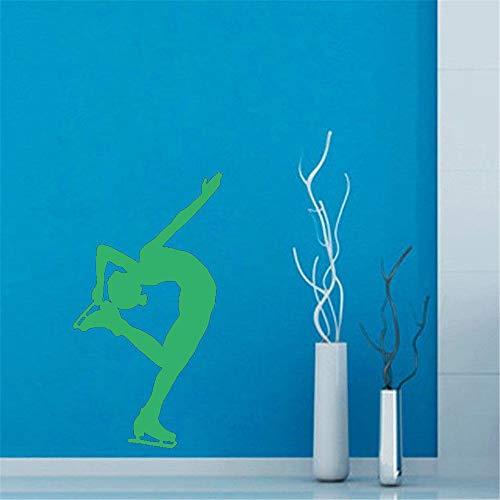 Fitnesstraining Wandaufkleber Frau Eisläufer Wandtattoo Abnehmbare Vinyltapete Für Home Art Dekoration 44 * 81 cm Husky Olive