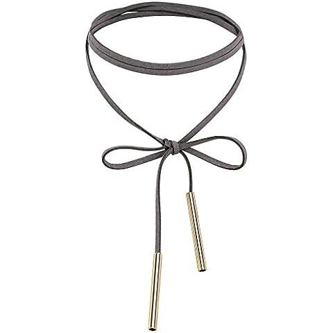 AnaZoz Joyería de Moda Collar Cuello Gargantilla Terciopelo de Mujer Lazo Mariposa Largo 2 Barras Cadena de Clavícula Collar Para Mujer Chica