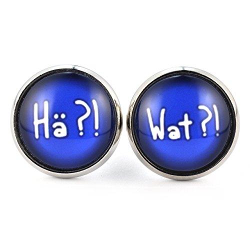 SCHMUCKZUCKER Damen Cabochon Ohrstecker mit Spruch Hä?! - Wat?! witzige Modeschmuck Ohrringe silber-farben blau 14mm