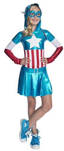 Rubie 's Offizielles Marvel Captain America Kleid Hoodie Dress Kostüm – Kinder (Captain America Kostüme Halloween Girl)