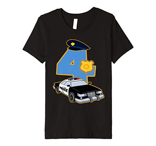 Polizei Kostüm Shirt - Kinder 4. Geburtstag Polizist T-Shirt 4 Jahre Polizei Auto Kostüm