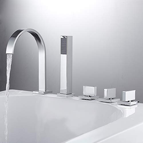 SURFMALL Chrom 5 Loch Armatur Einhebel Wannenrandarmatur Einhebelmischer mit Handbrause Duschsystem für Bad Badenzimmer Badewanne Waschbecken -