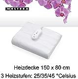 MELISSA 5707160016562 16760045 Elektrische Heizdecke 50 x150 cm,60 Watt,Mollige Wärme,3 Heizstufen, Weiß