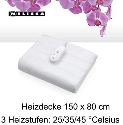 Melissa 16760045 Elektrische Heizdecke 80 x150 cm 60 Watt Mollige Wärme 3 Heizstufen 25/35/45 °C weiß