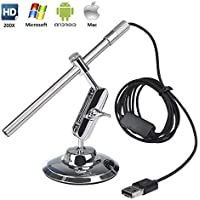 Microscope Numérique USB Endoscope Portable HD 2 en 1 200x loupe Caméra d'inspection étanche IP67 pour OTG Android Smartphone Tablette, Windows & Mac PC Ordinateur de Flylinktech