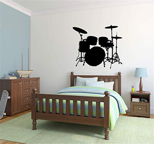 wandaufkleber familie Musik Wandaufkleber Zitat Drum Set für Musikzimmer Jungen Mädchen Zimmer (Jungen-drum-set)