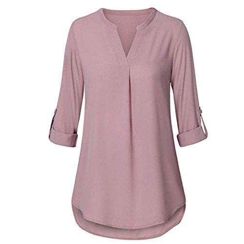 SEWORLD 2018 Damen Mode Sommer Herbst Schal Elegant Lose Täglich Chiffon Lose Langarm Solide V-Ausschnitt Gefesselt Shirt Bluse Tops(X-a-rosa,EU-38/CN-S)